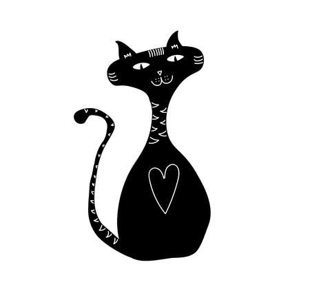 Gepatenteerde esthetische zwarte kat figuur, tekening illustratie.