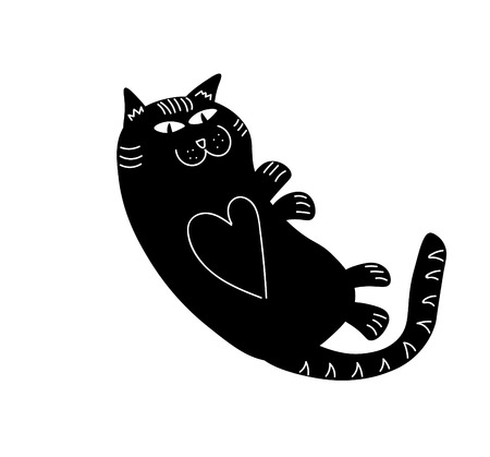 pete: Patterned aesthetic black cat figure, drawing illustration. Stock Photo
