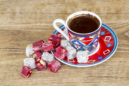 A cup of Turkish traditional coffee, Turkish sweets