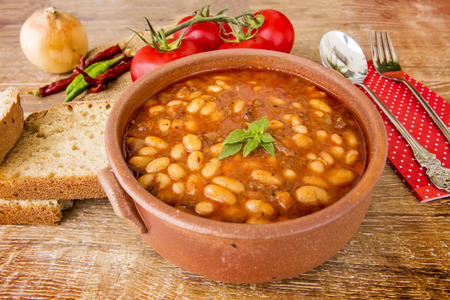 haricot: The Turkish Foods; Gourmet flavors; Haricot bean (dried beans) Stock Photo