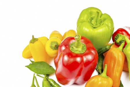 Colorful Pepper varieties; Bell pepper, bitter pepper, Fresh vegetables