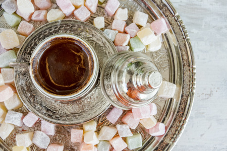 Turkish Coffee hot drink and Turkish Delight