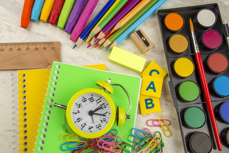 The School supplies, stationery materials, colorful pencils