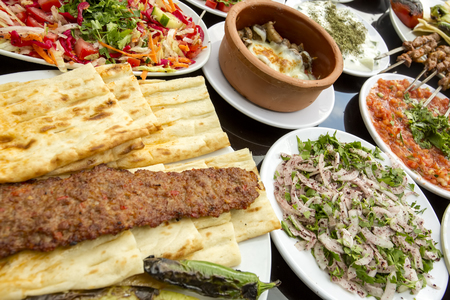 The Turkish Foods; Gourmet flavors Adana kebab 免版税图像