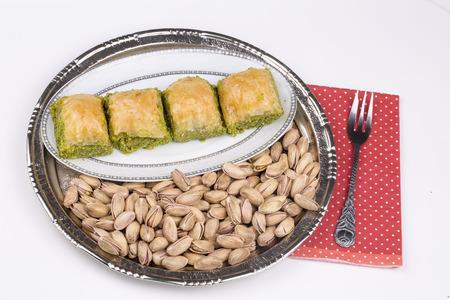 Turkish desserts; traditional pistahio baklava (Antep Baklava)