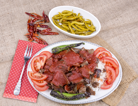 The Turkish Foods; Traditional Doner Kebab İskender Stock Photo - 94692191
