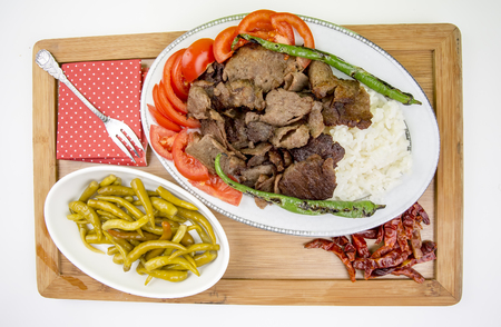 The Turkish Foods; Traditional Doner Kebab İskender Stock Photo - 94930125