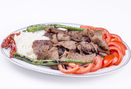 The Turkish Foods; Traditional Doner Kebab İskender Stock Photo - 94692197