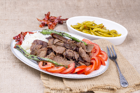 The Turkish Foods; Traditional Doner Kebab İskender Stock Photo - 94719466