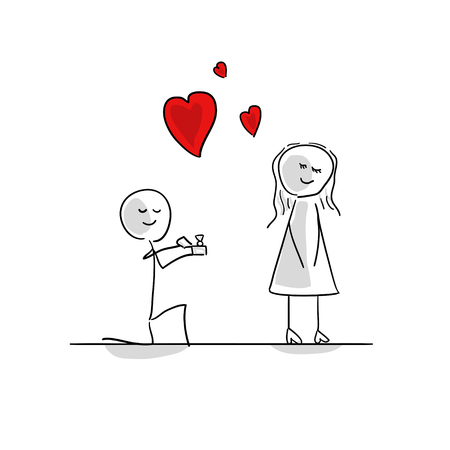 Stick man and stick girl in love heart