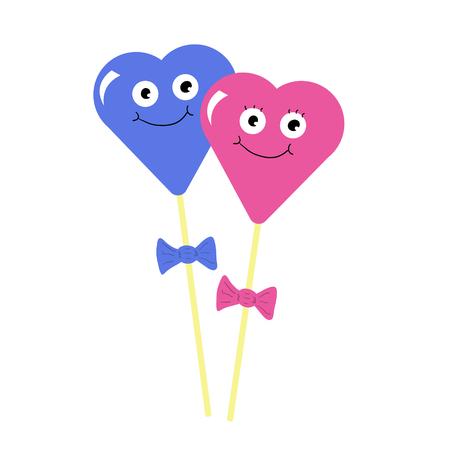 Stick candies man and girl heart cartoon character