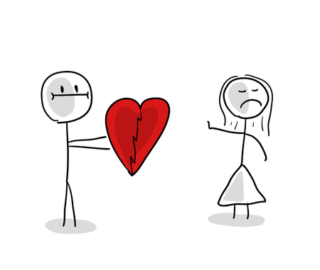 Stick man and stick girl, in love, cartoon character