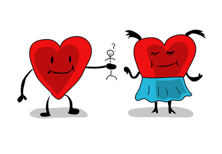 The heart couple in love, cartoon character