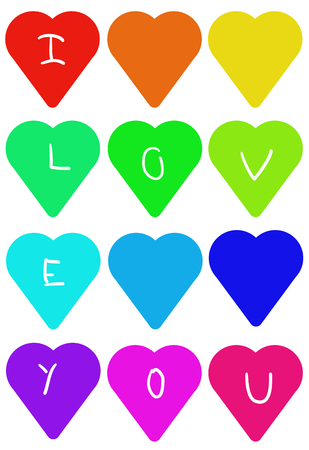 The Colorful hearts; I love you, drawing Stok Fotoğraf