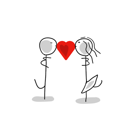 Stick man and stick girl, in love heart, cartoon character