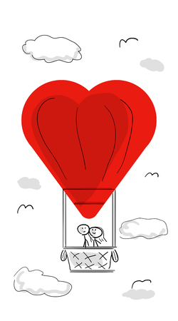 Stick man and stick girl happy, in love a balloon from the heart fly with