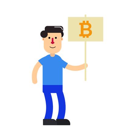 Cartoon character; young man and bitcoin sign Stok Fotoğraf