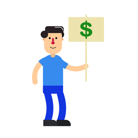 Cartoon character; young man and dollar sign