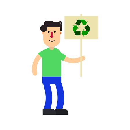Cartoon character; young man and environment sign