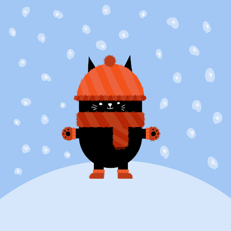 Cartooon character; cute cat with winter snow
