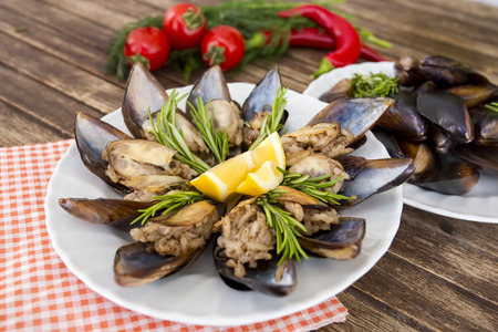 Turkishfoods; Turkish style stuffed mussels (midye dolma)
