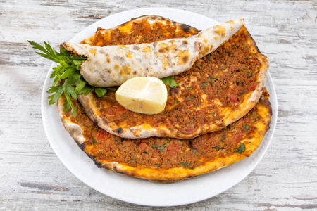 Traditional Turkish Foods; Turkish pita pizza (Lahmacun) Stock Photo