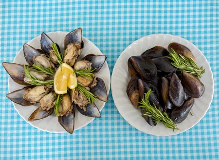 Turkishfoods; Turkish style stuffed mussels (midye dolma) Foto de archivo