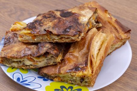Traditional Turkish foods; filo pastry with minced meat (kiymali borek)