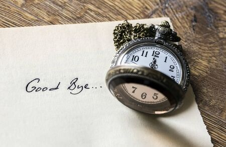Antique Pocket Watch and goodbye with writing