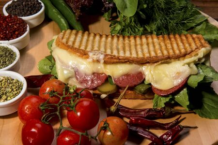 Turkish Bazlama Tost / Toast sandwich with melted cheese, tomatoes and dill. Ayvalik toast, tost. Stock Photo