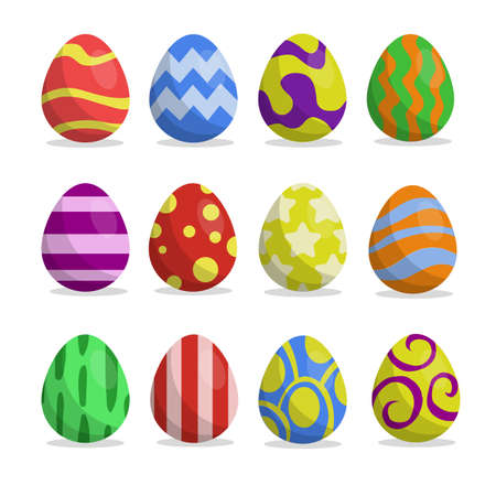 Cute, fun easter eggs cartoon illustration pattern