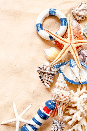 Summer time concept with sea shells and starfish on sand