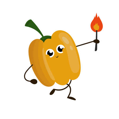 Cute funny yellow pepper illustration. Foot concept draw.