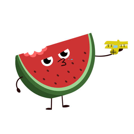 Watercolor super friendly watermelon. Character design.