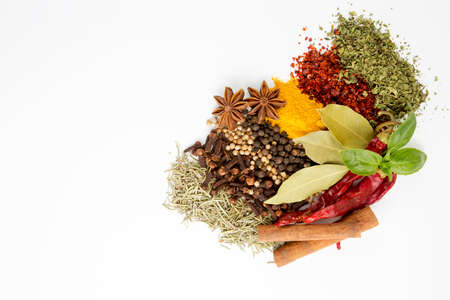 Mixed various spices on the white background