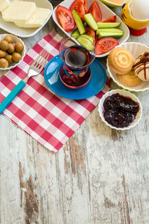 Travel concept: setup with traditional turkish breakfast Stok Fotoğraf