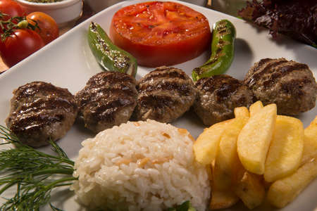 Turkish foods, Turkish style meatbaal grilled and rice