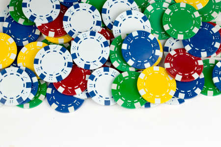 Ace playing cards with red dice. Casino betting and gambling concept and poker chips. 写真素材 - 152077001