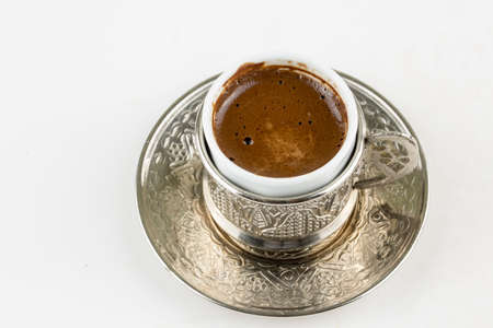 Turkish coffee with delight and traditional copper serving set Foto de archivo