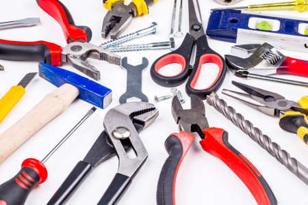 Various type of tools on white background Stock Photo