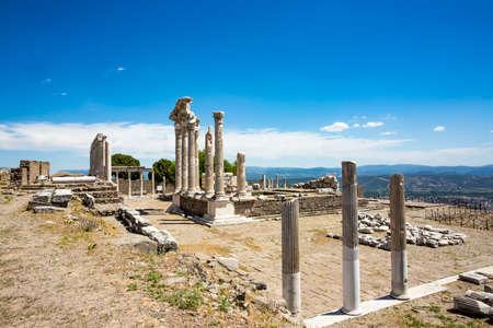 Travel concept photo. Trajan Temple columns in ancient city of Pergamon, Turkey
