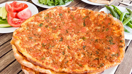 Traditional Delicious Turkish foods; Turkish pizza (Lahmacun)