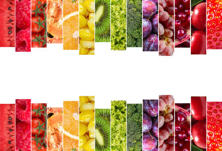 Fresh vegetables and fruits collage. Various vegetables and fruits background. Stock fotó