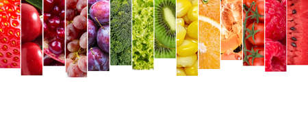 Fresh vegetables and fruits collage. Various vegetables and fruits background.