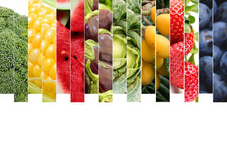 Fresh vegetables and fruits collage. Various vegetables and fruits background. Archivio Fotografico