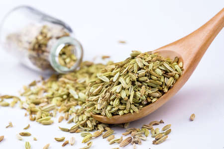 Dried herb, fennel seeds isolated, top view