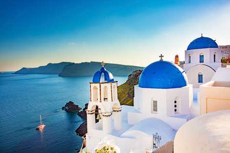 Travel holiday concept photo. Santorini island / Greece