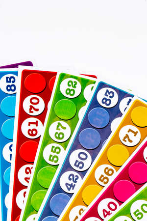 Colorful card game background. Tombola bingo cards.