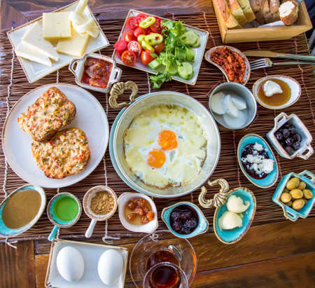 Traditional Delicious Turkish breakfast. Travel concept photo. Stock fotó