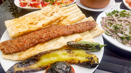 Traditional Delicious Turkish foods; Adana Kebab, Grilled meat
